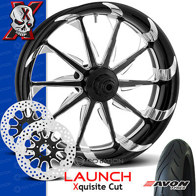 """Xtreme Machine Launch Xquisite Cut Motorcycle Wheel Front Package Harley 23"""" PM"""