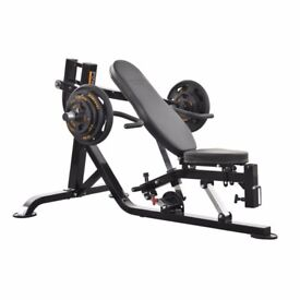 Powertec isolateral press,140 kg of weights, weight tree, body solid back machine, ab king pro