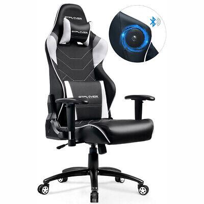 GTPLAYER Musik Gaming Stuhl Chefsessel Bürostuhl mit Bluetooth Lautsprecher - Nicht Gepolstert Bürostühle