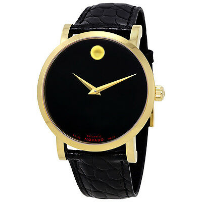 Movado Red Label Black Dial Leather Automatic Mens Watch 0607007