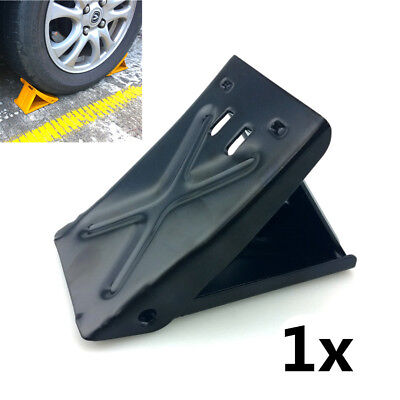 Black Folding Steel Curb Parking Block Car Rv Trailer Wheel Tire Stopper Garage