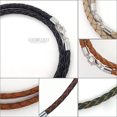 Sterling Silver 4mm Braided Genuine Leather Cord Necklace/Bracelet Lobster -