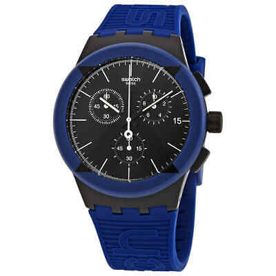 Swatch X-District Blue Chronograph Quartz Black Dial Men's Watch SUSB418