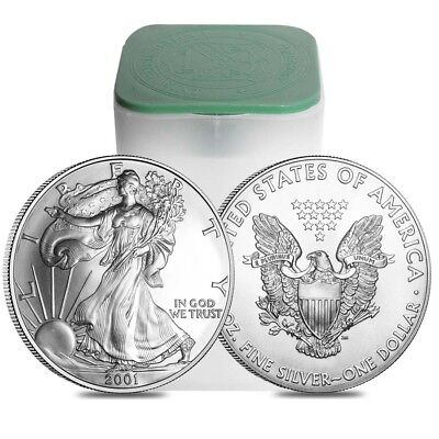 Roll of 20 - 2001 1 oz Silver Eagle Brilliant Uncirculated (Lot,Tube of 20)