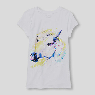 New!!! Girls The Childrens Place White Horse Shirt Size Large (10-12) NWT!!!