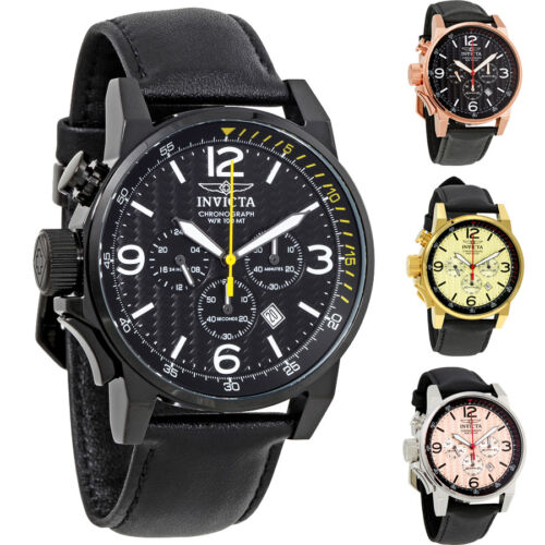 $73.99 - Invicta I-Force Chronograph Rose Dial Black Leather Mens Watch  - Choose color