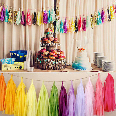 5pcs 14'' Tissue Paper Tassel Garland Bunting Wedding Home Party Baby Decor Gift - Tissue Paper Decorations