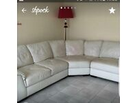7 seater white leather couch