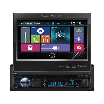"Power Acoustik PD-724B 1 DIN FLIP UP CD/DVD/MP3 Player 7"" Bluetooth SD USB Input"