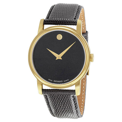 Movado Museum Black Dial Black Leather Mens Watch