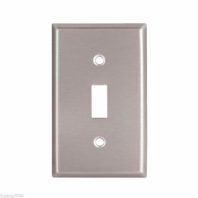 Stainless Steel Brushed Satin Single Light Switch Toggle Wall plate 1 Gang