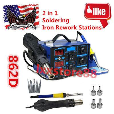 862d2in1 Soldering Rework Station Smd Solder Iron Hot Air Gun Dc Power Supply S