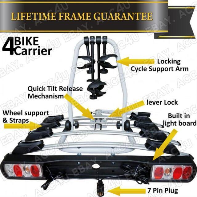 Car 4x4 Rear Platform Towball Tow Bar Mount Titan 60kg 4 Bike Cycle Rack Carrier