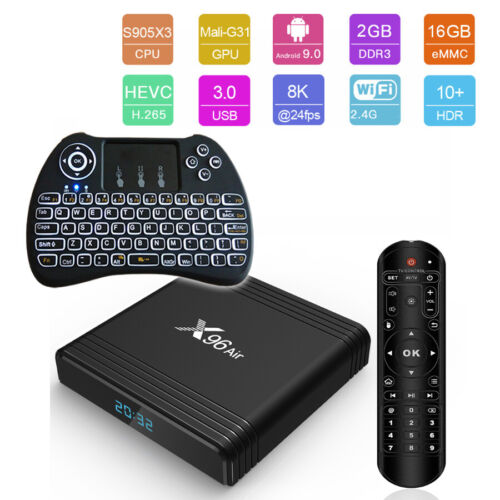 X96 Air Amlogic S905X3 Android 9.0 8K UHD 16GB WiFi Smart TV Box+Keyboard Remote