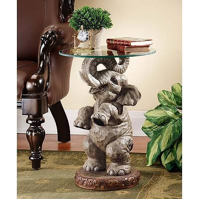 """Good Opulence Elephant Sculpture Design Toscano Exclusive 21½"""" Glass Topped Register"""