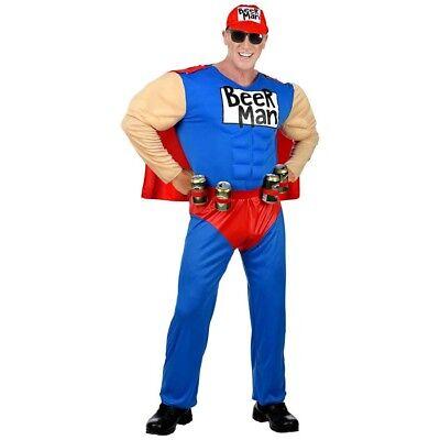 SUPER BIERMANN HERREN KOSTÜM # Karneval Muskel Bier Held Mütze Dosenhalter - Muskel Mann Kostüm