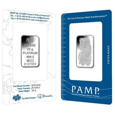 Lot of 2 - 20 gram PAMP Suisse Lady Fortuna Platinum Bar .9995 Fine (In Assay)