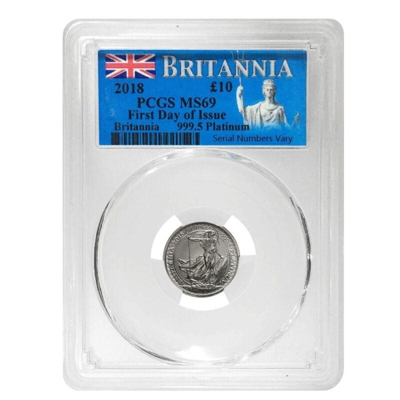 2018 Great Britain 1/10 oz Platinum Britannia Coin PCGS MS 69 FDOI