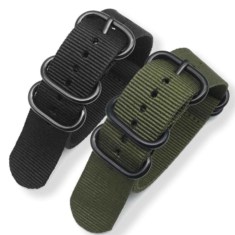 Fashion NATO Watch Band Nylon Strap Black 5 Rings Buckle 20m