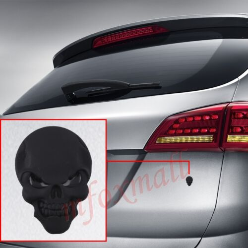 3D Auto Emblem Badge Logo Sticker Decal Black Bone Skull Head Accessories Trim
