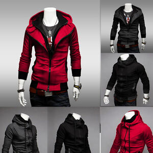 Stylish-Men-039-s-Casual-Slim-Fit-Zip-Designed-Coats-Jacket-Sweater-Cardigan-Hoodies