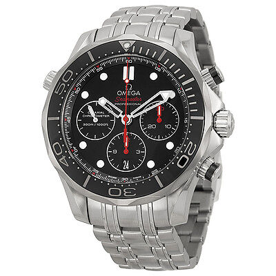 Omega Seamaster Automatic Chronograph Black Dial Stainless Steel Mens Watch