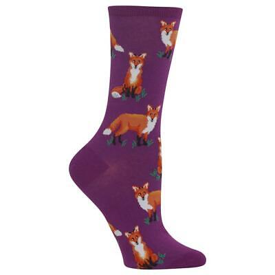 Fox Pals Hot Sox Women's Crew Socks Purple New Cute Novelty Forest Fashion