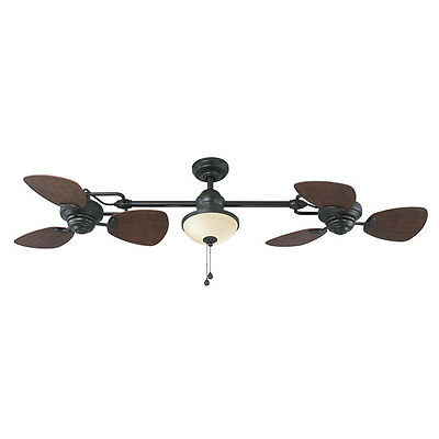 Harbor Breeze Twin Ceiling Fan - Bronze 74 in 6 Blades In/Outdoor with Light Kit