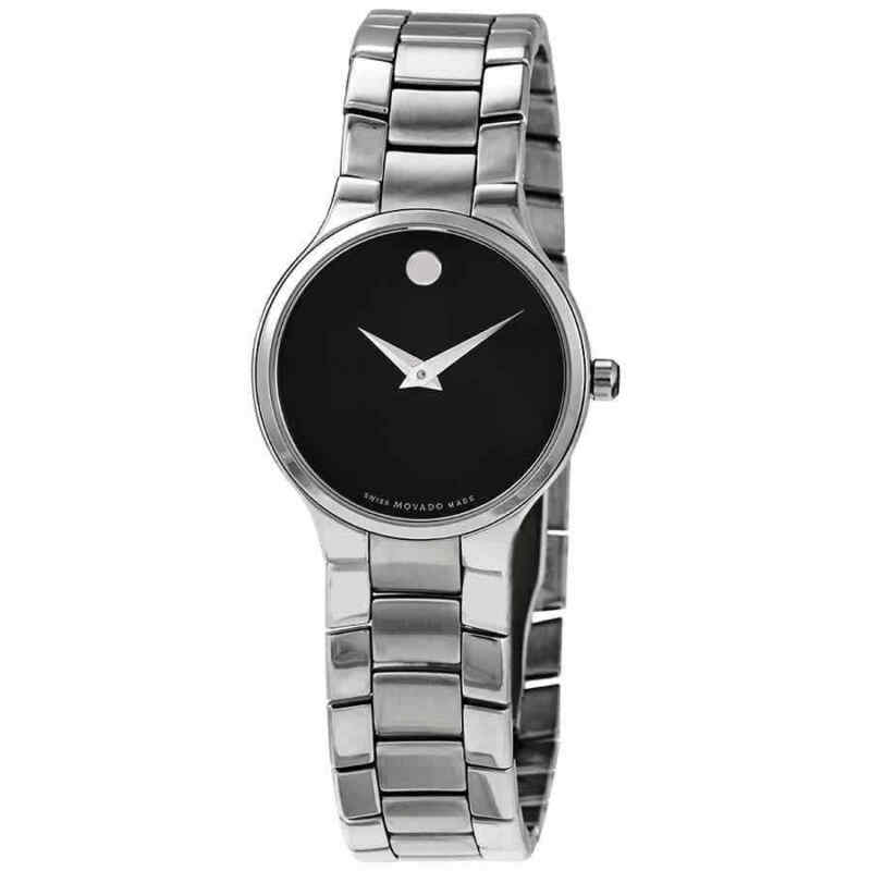 Movado Serio Black Dial Stainless Steel Ladies Watch 0607288