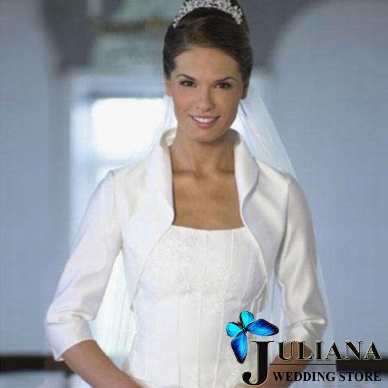 Stocked White/Ivory Satin 3/4 Sleeve Wedding Jackets Bridal Bolero Shrug Coat