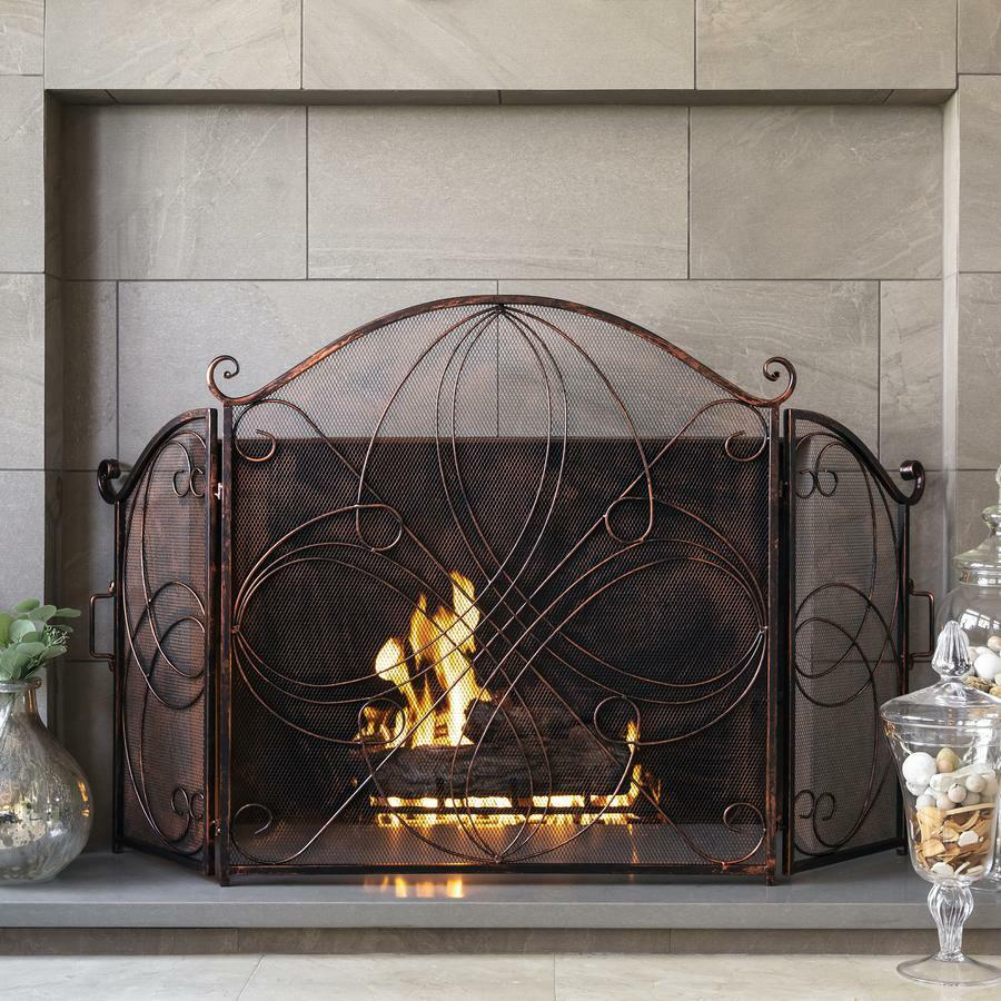3 Panel Wrought Iron Metal Fireplace Screen Cover Vintage De