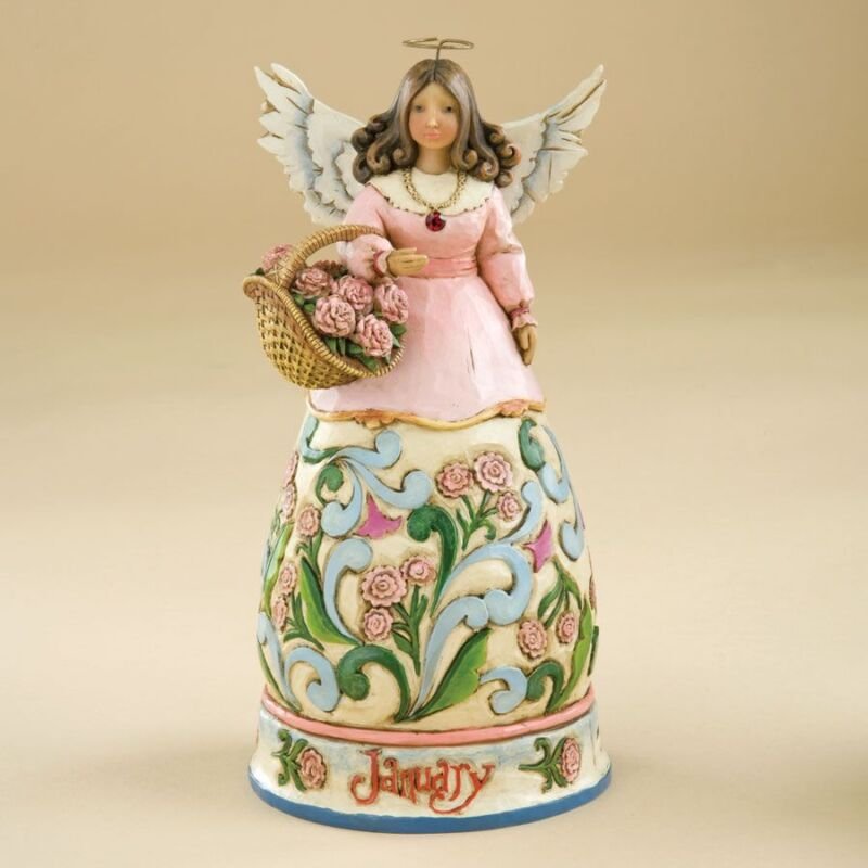 Jim Shore Birthstone & Flower Of The Month Angels-January