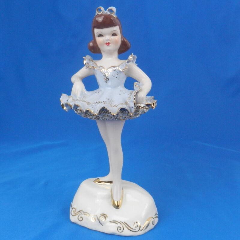 Florence Ceramics CHILD BALLERINA Vintage Figurine in BLUE Dress *GOREGOUS*