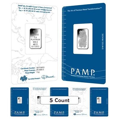 Lot of 5 - 5 gram PAMP Suisse Lady Fortuna Platinum Bar .9995 Fine (In Assay)
