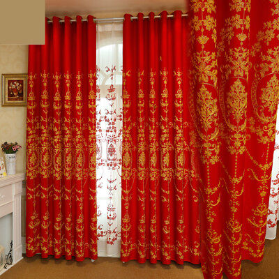 high class Chinese embroidered flannel red wedding room cloth curtain tulle N003 - Classroom Curtains