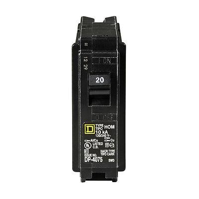 Square D Homeline 20-amp 1-pole Single Pole Short Circuit Breaker Protectionnew