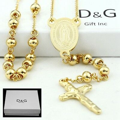 Box Cross Necklace (DG Stainless Steel,Gold 26