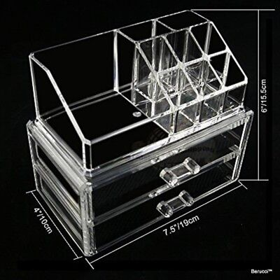 Acrylic Jewelry Makeup Cosmetic Organizer – 2 Piece Set with 2 Bottom Drawers