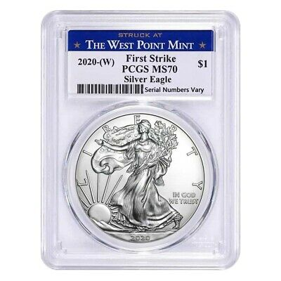 Best  2020 (W) 1 OZ SILVER AMERICAN EAGLE $1 COIN PCGS MS 70 FIRST STRIKE (WEST POINT)
