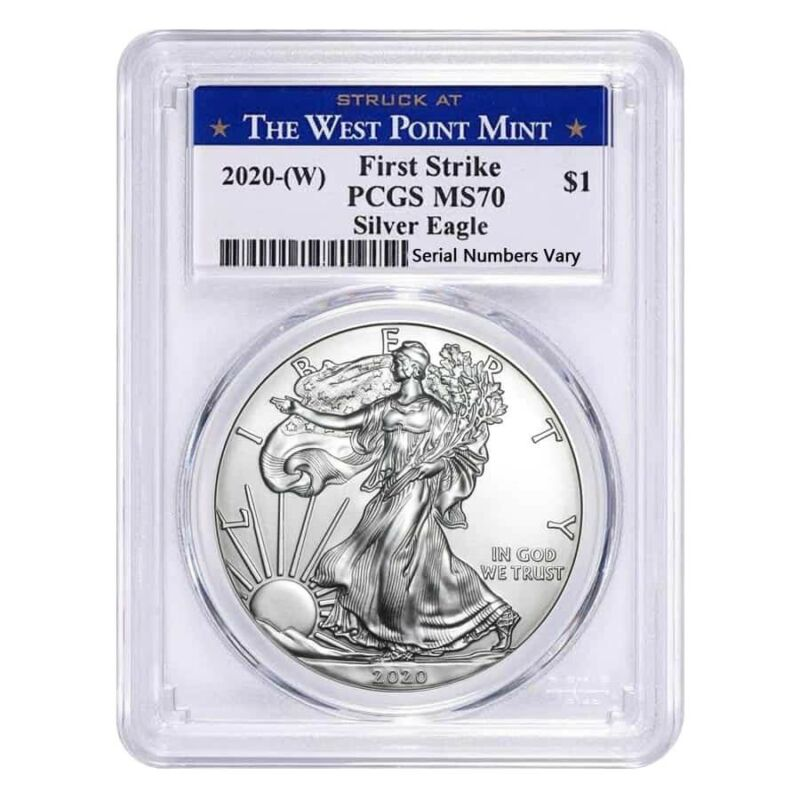 2020 (W) 1 oz Silver American Eagle $1 Coin PCGS MS 70 First Strike (West Point)