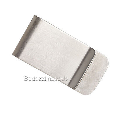 Surgical Stainless Steel Silver Blank 2 x 1 inch Rectangle Money Clip Finding