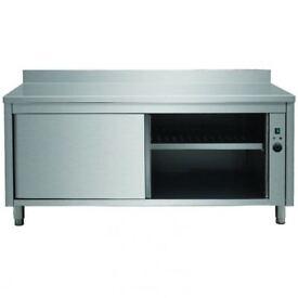 Heated cupboard Stainless steel Sliding doors Rear upstand Width 1400mm