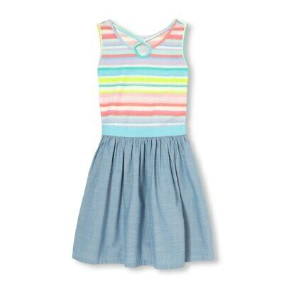 NWT The Childrens Place Girls Rainbbow Striped Chambray Sleeveless Dress