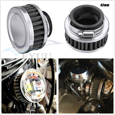 UNIVERSAL STAINLESS STEELRUBBER MOTORCYCLES AIR FILTER 42MM CLEANER F
