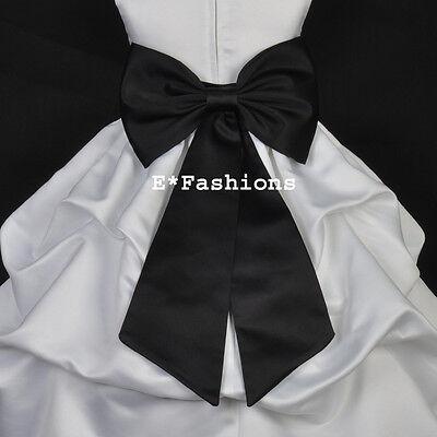 BLACK TIE BOW SASH 4 PAGEANT WEDDING FLOWER GIRL DRESS sz S M L 2 4 6 8 10 12 14