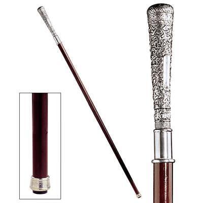 Elegant Italian Solid Pewter Polished Hardwood Cane Walking Stick