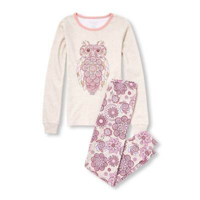 NWT The Childrens Place Foil Owl Girl Long Sleeve Pajamas Set 8 10 12 14 16