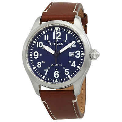 NEW Citizen Chandler Eco Drive Blue Dial Leather Band Men's Watch - BM6838-17L