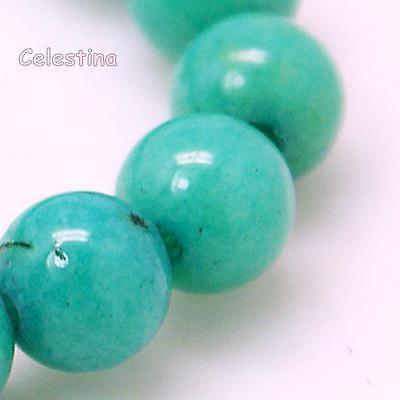 10 x 8mm Aqua Natural Mashan Jade Beads - Round Gemstone GB63 (Aqua Teal Blue)