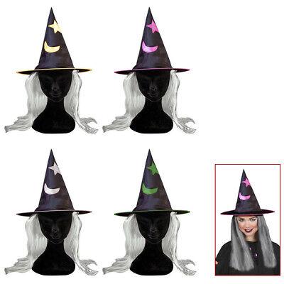 KINDER HEXEN HUT & HAARE # Halloween Karneval Mädchen Zauberin Kostüm Party 5154